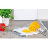 Kunstof Snijplank  met Anti slip functie | Vaatwasmachinebestendig | Snij plank met handvat | Afm. 31,5 x 20 x 1 cm | Kleur: Wit / Grijs