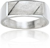 Classics&More - Zilveren Ring - Maat 58 - Rechthoek Mat Glanzend