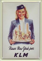 KLM reclame Naar New York reclamebord 20x30 cm