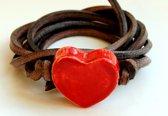 Armband hart rood