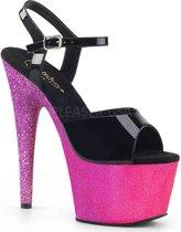 Pleaser Sandaal met enkelband -38 Shoes- ADORE-709OMBRE Zwart/Roze
