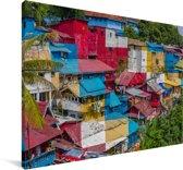 Kleurrijke huizen bij Yogyakarta in Indonesië Canvas 60x40 cm - Foto print op Canvas schilderij (Wanddecoratie woonkamer / slaapkamer)