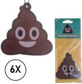 Luchtverfrisser Chocola - Auto - Poep Emoji - Chocolade Geur - Set van 6 stuks
