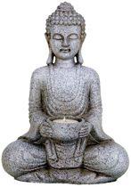 Meditatie Boeddha met kaarshouder steengrijs - 27 cm - (1st.) - M