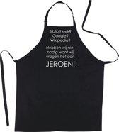 Mijncadeautje - Keukenschort - Google, Wiki.. Wij vragen het aan JEROEN  - zwart - katoen - polyester - (70 x 98 cm)
