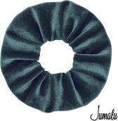 Jumalu scrunchie velvet haarwokkel haarelastiekjes - groenblauw - 1 stuk