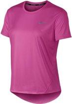 Nike Dry Miler Running Top SS Sportshirt - Maat XS  - Vrouwen - roze