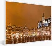 Foto in lijst - De Grote Markt van Brussel snachts prachtig verlicht fotolijst wit 40x30 cm - Poster in lijst (Wanddecoratie woonkamer / slaapkamer)