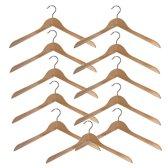 10 (+ 1 GRATIS) naturel gelakte houten kledinghangers van 44 cm breed.