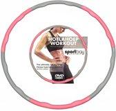 Hoelahoep 1.5 kg + Workout DVD roze/grijs