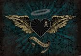 Fotobehang Alchemy Heart Dark Angel Tattoo | PANORAMIC - 250cm x 104cm | 130g/m2 Vlies