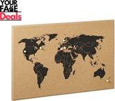 Wereldkaart Kurk Bord | Wereldmap Kurkbord | World Map Cork | Cork Worldmap | Inclusief 6 pinnen | 60 x 40 x 2 cm