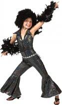 Zwarte disco jumpsuit voor kinderen 116