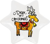 Blond Amsterdam kerst bord ster 12cm O Deer - set/ 4 stuks