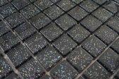 Mozaiek tegel glas zwart glitter 30 x 30