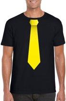 Zwart t-shirt met gele stropdas heren M