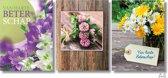 3x Dubbele A4 kaart met envelop - Beterschap - Blanco - Formaat: 235 x 310 mm