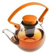 Qdo Theepot Glas - Rond - Met Clip handvat - 1 liter - Oranje