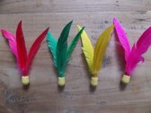 Ping Pang mini shuttle in vrolijke kleuren (per 4 stuks verpakt)