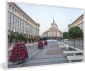Foto in lijst - Kleurrijke plein in de Bulgaarse stad Sofia fotolijst wit 60x40 cm - Poster in lijst (Wanddecoratie woonkamer / slaapkamer)
