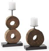 LaForma houten Kandelaars Amely - Set van 2