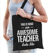 Kadotas awesome teacher zwart katoen - Meesterdag/juffendag einde schooljaar cadeau
