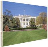 Witte Huis gazon Washington DC Hout 120x80 cm - Foto print op Hout (Wanddecoratie)