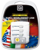 Go Travel reisstekker - adapter + USB. Eu  worldwide - wit