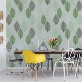 Fotobehang Green Leaves Pattern | VEXXXL - 416cm x 254cm | 130gr/m2 Vlies