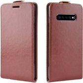 Mobigear Verticaal Luxe Wallet Hoesje Bruin Samsung Galaxy S10 Plus