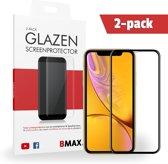 2-pack BMAX iPhone XR Screenprotector Full Cover Glas | Dekt het volledige scherm! | Beschermglas | Tempered Glass