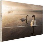 Zwanen in het Yamnaka meer Hout 80x60 cm - Foto print op Hout (Wanddecoratie)