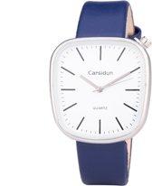 Leren Dames Horloge - Vierkant - Blauw & Zilver - Carsidun