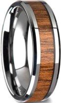 RVS ring met houten inlay- MT 9