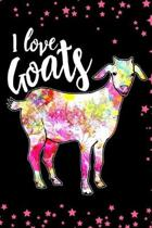 I Love Goats: Goat notebook for Goat Lovers - 120 Ruled Pages Notes Journal, College Ruled Composition Notebook, 6x9 Colorful Goat A