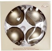 Cosy @ Home Kerstbal glas set 4 taupe mat 8cm