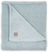 Deken 75x100cm Confetti knit stone green /coral fleece