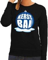 Foute kersttrui kerstbal blauw op zwarte sweater voor dames - kersttruien 2XL (56)