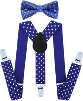 Fako Fashion® - Kinder Bretels Met Vlinderstrik - Stippen - 65cm - Royal Blauw