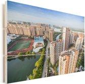 Zonnige dag in de miljoenenstad Fuzhou in China Vurenhout met planken 60x40 cm - Foto print op Hout (Wanddecoratie)