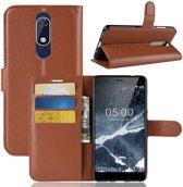 Book Case Nokia 5.1 Hoesje - Bruin
