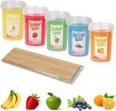 Suikerspinsuiker fruitmix 4, 5 x pot á 450 gram - incl. ± 100 stokjes