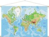 Wereldkaart op schoolplaat wanddecoratie 90x60 cm platte latten - Textielposter
