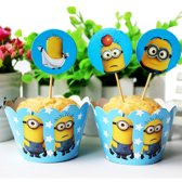 12 stuks cupcake omslagen minions + toppers