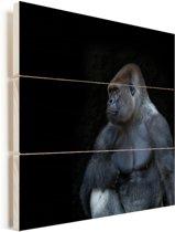 Een gespierde Gorilla op een zwarte achtergrond Vurenhout met planken 50x50 cm - Foto print op Hout (Wanddecoratie)