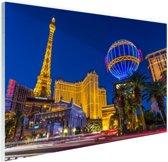 FotoCadeau.nl - Las Vegas Strip bij schemering Glas 60x40 cm - Foto print op Glas (Plexiglas wanddecoratie)