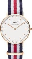Daniel Wellington Classic Canterbury DW00100030 - Horloge - Nato - Blauw/Wit/Rood - Ø36mm