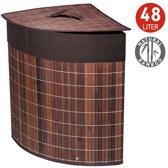 Opvouwbare Bamboe Wasmand Met Deksel & Katoenen Waszak - Hoekwasmand - Laundry Basket - 48 Liter