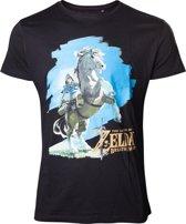 The Legend of Zelda: Breath of The Wild Link Op Zijn Paard T-Shirt Zwart/Blauw, Maat:  XL