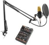 Vonyx CMS400B Studio condensator microfoon met broadcasting arm en USB mixer